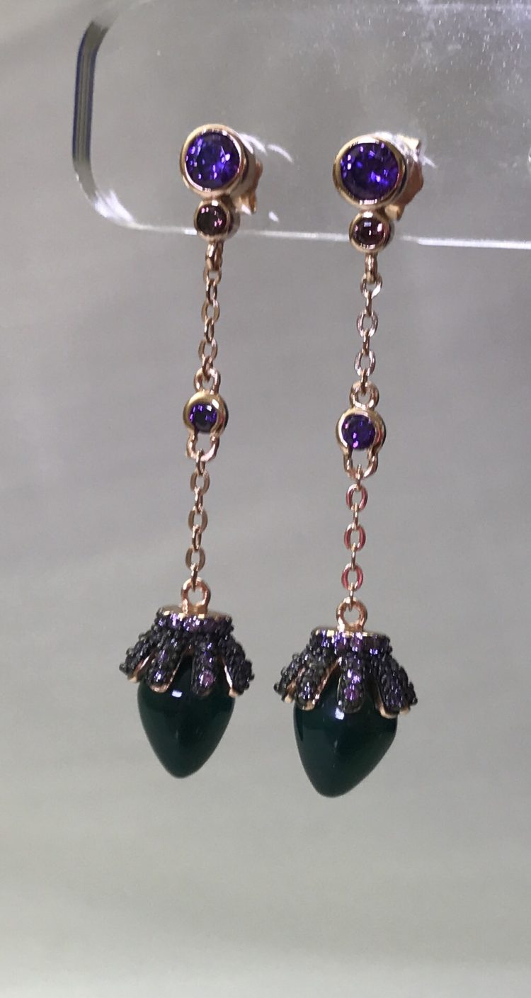 Earrings-Natural-Green-and-Purple-Colored-Stones
